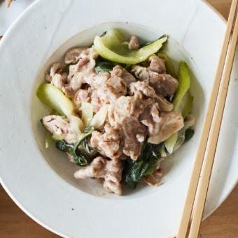豚とチンゲン菜の塩あん炒め-1